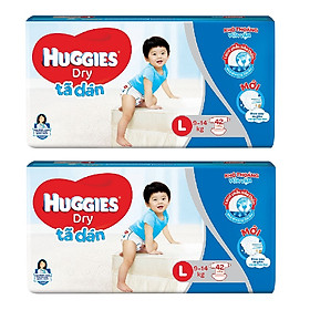 2 Gói Tã Dán Huggies Dry Gói Đại L42 (42 Miếng) - Bao Bì Mới