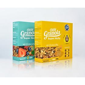 OHH Granola Ngũ Cốc Giảm Cân, Ăn Kiêng + Ngũ Cốc Lợi SữaYến mạch, hạt chia, hạt óc chó, Ohh Granola, Combo 2 Hộp X 250g, Tiêu chuẩn  FDA Hoa Kỳ