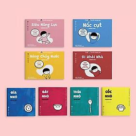 Combo Ehon Nhật Bản TAKU - CẬU BÉ MỘNG MƠ: Đi Khỏi Nhà + Nấc Cụt + Nóng Chảy Nước + Siêu Năng Lực (Bộ 4 Cuốn Phát Triển Trí Tuệ 2 - 8 Tuổi/ Tặng kèm Bookmark Happy Life)