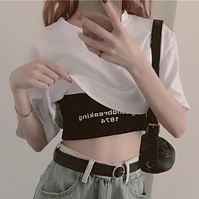 Áo croptop 1974 nữ sexi, Chất liệu cotton mềm mịn, loại ngắn kết hợp 2 trong 1, họa tiết bắt mắt thời trang, form free size, màu sắc đơn giản, hàng đẹp