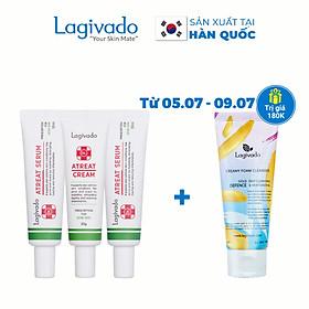 Bộ ba kem dưỡng ngăn ngừa mụn, giảm mụn viêm Lagivado Atreat Cream 30g và serum ngừa thâm, không để lại sẹo 60 ml