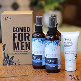COMBO FOR MEN- Gel rửa mặt bùn khoáng nọc ong + Xịt khoáng tươi Viba - BỘ ĐÔI DÀNH CHO NAM GIỚI