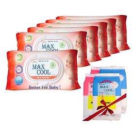 Combo 6 Khăn Ướt Max Cool Hương Phấn Nhẹ Nhàng (80 Tờ x 6) - Tặng Kèm 4 Gói Khăn Ướt Max Cool (15 Tờ x 4)