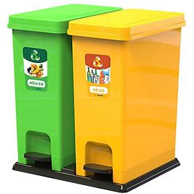 Thùng rác ECO Bộ 2 Duy Tân No.0953/2 - 2 ngăn phân loại rác hữu cơ, vô cơ