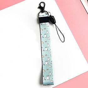 Móc khóa dây Strap dây vải ngắn hình mèo mini - xanh da trời