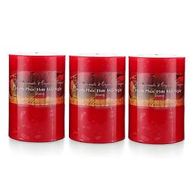 Bộ 3 nến thơm Hạnh Phúc D7H10 Miss Candle MIC0260 7 x 10 cm