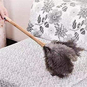 Fluffy Natural Ostrich Feather Duster Wooden Handle Household Cleaning Tool