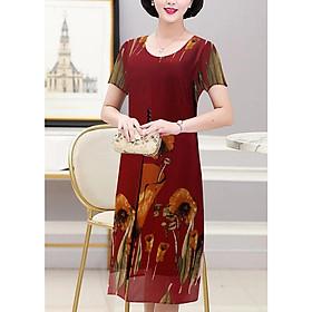 Đầm Váy Trung Niên Dáng Dài Dạng Đầm Suông Phối 3 Nút In Hoa - Thời Trang Trung Niên Nữ GOTI 3288D