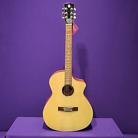 Đàn guitar acoustic kiểu dáng mới nhất - gắn eq 7545 kết nối loa - đàn có ty chống cong, mặt gỗ thông SVA102A