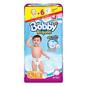 Tã Quần Bobby Gói Lớn L38 (38 Miếng) + 6 Miếng Cùng Size