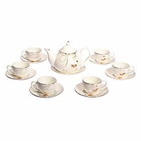 Bộ tách trà sứ xương 14 món Bone Porcelain (Bình 700ml, tách 120ml)  (Nhiều hoa văn)
