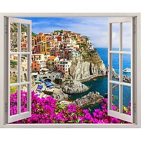Tranh dán tường cửa sổ 3D VTC cảnh biển đẹp VT0222