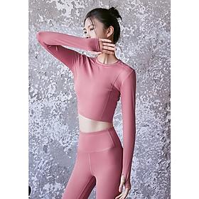 Áo thể thao nữ croptop dài tay Louro LA60, kiểu áo tập gym nữ trơn co giãn, tập luyện thoải mái