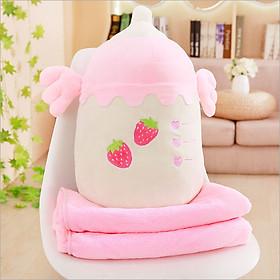Gối mền hình Bình Sữa màu hồng 3 trong 1