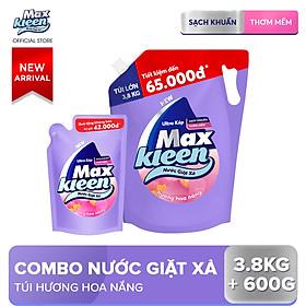 Combo Nước giặt xả Maxkleen hương hoa nắng: 1 Túi 3.8kg + 1 Túi 600g