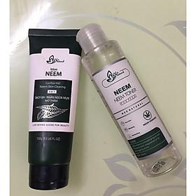 Combo sữa rửa mặt và nước hoa hồng giúp da sạch sâu,ngừa mụn chiết xuất từ lá neem Ấn Độ (100% từ thiên nhiên)