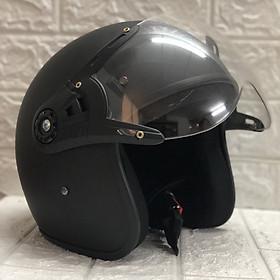 Mũ Bảo Hiểm Có Kính 3/4 Đầu N025 Bopa – Màu Đen Nhám Kính Trong _ Chống bụi, chống nắng đi được cả ban đêm