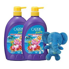 Combo 2 chai tắm gội toàn thân cho trẻ Carrie Junior Tinh chất sữa (700g*2)+Tặng kèm 1 Voi bông xinh xắn