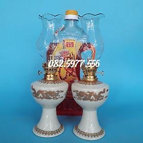 Cặp đèn thờ sứ Bát Tràng cao và 1 dầu Lưu Ly Cát Tường