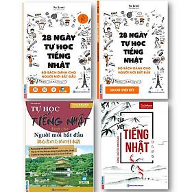 Bộ sách 4 cuốn ( 28 ngày tự học tiếng nhật  - ghi chú luyện viết sách bài tập - tự học tiếng nhật dành cho người mới bắt đầu - tập viết tiếng nhật hiragana )t