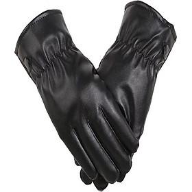 Găng tay da nam cảm ứng điện thoại chống nước chống bong tróc