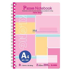 Sổ lò xo kép bìa nhựa A4 - 200 trang; Klong TP899 màu hồng