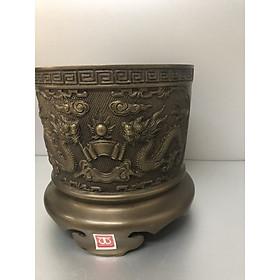 Bát hương đồng vàng cổ, chạm khắc rồng phượng tinh xảo - DVM0030 (sản phẩm nhiều kích thước)