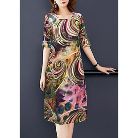 Đầm Suông Chữ A Silk Lụa In Hoa Tay Lỡ Kiểu Đầm Suông Nhiều Mẫu  Size Lớn Cho Người Mập