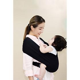 [CHÍNH HÃNG] Black (Màu đen) - Địu vải EmBé Sling, dành cho bé sơ sinh từ 0-24 tháng tuổi, thoáng khí, thời trang, nhỏ gọn