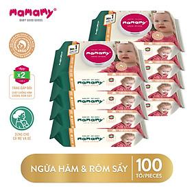 Combo 8 gói Khăn Ướt Mamamy 100 tờ/gói chống hăm, kháng khuẩn an toàn cho bé