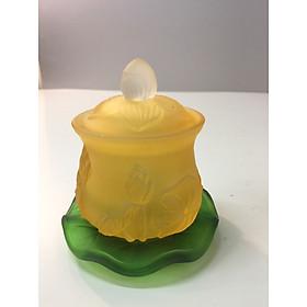ly nước cúng Phật - có nắp và đế - hoạ tiết hoa sen M098