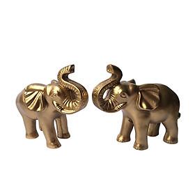 Cặp tượng voi đá trang trí N2 - màu nhũ vàng