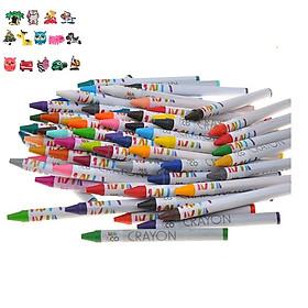 Bộ bút chì sáp tô màu 64 màu khác nhau an toàn cho bé, màu sắc nét, chắc chắn, không bị gãy khi sử dụng+ Tặng kèm hình dán ngộ nghĩnh cho bé