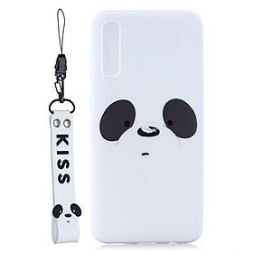 For Samsung A50 Cute Coloured Painted TPU Anti-scratch Non-slip Protective Cover Back Case with Lanyard Style:Samsung A50