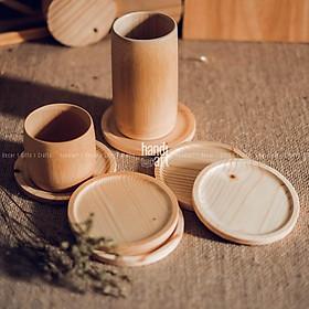 Lót ly bằng gỗ - Lót cóc gỗ - Lót ly gỗ tròn