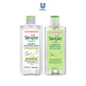 Bộ làm sạch và cân bằng da da Simple: Nước hoa hồng Soothing Toner 200ml + Nước Tẩy Trang Simple Micellar Water 200ml