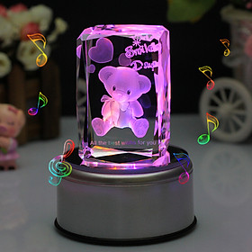 Rude love 3D bear crystal music box light ornaments birthday gifts to send girlfriend girl wife girl girl girl creative Tanabata Valentine's Day gift