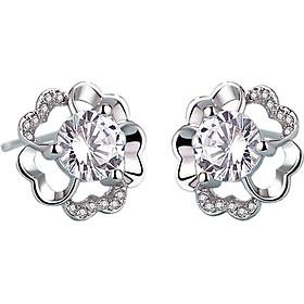 Bông tai nữ hoa mận pha lê bạch kim