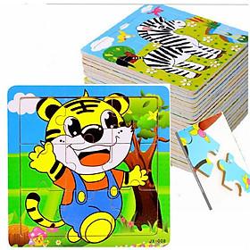 Đồ chơi gỗ an toàn cho bé - tranh ghép hình 9 mảnh MK900 - combo 10 tranh