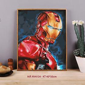 Tranh sơn dầu số hóa tự tô cho người lớn Marvel Ironman Người sắt NV4134