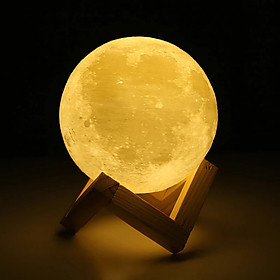Đèn ngủ mặt trăng Moon Light 3D cảm biến nhiều màu tặng kèm đế gỗ, điều khiển