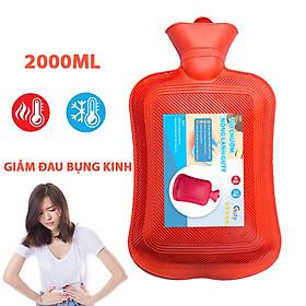 Túi chườm nóng lạnh cao su Guty, túi giữ nhiệt chườm đá đa năng giúp giảm đau bụng kinh, đau lưng, hông, đau do chấn thương, sưởi ấm, giảm sốt - Dung tích 2 lít - Kích thước 18,5x35cm