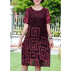 Đầm Suông Tuổi Trung Niên Size Lớn Kiểu Đầm Cho Mẹ U50, U60 Dạo Phố In Họa Tiết  ROMI 3280