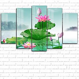 Tranh kính treo tường 3D - Hoa sen ghép 5 tấm GE2402- kính cường lực 5mm, khung viền composite, công nghệ in UV 3 lớp, bền màu trên 20 năm.