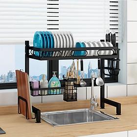 Kệ chén bát đa năng VANDO bằng thép carbon không gỉ, chống xước, sơn đen tĩnh điện, giá bát trên bồn rửa ráo nước cho nhà bếp sạch sẽ