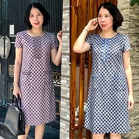 Đầm suông trung niên bigsize họa tiết tay ngắn sang trọng LD663
