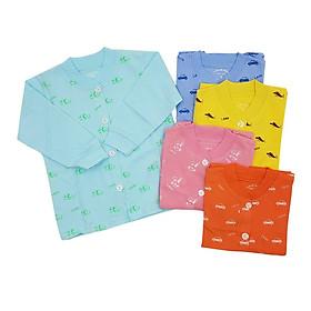 Combo 5 áo sơ sinh cotton tay dài cài nút giữa họa tiết Thái Hà Thịnh
