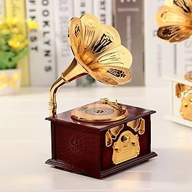 Hộp nhạc hình hoa loa kèn phong cách cổ điển có ngăn đựng 12.5x10.3x21.5cm cao cấp, giao màu ngẫu nhiên+ Tặng kèm hình dán ngẫu nhiên