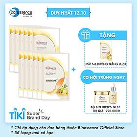 Hộp 12 miếng Mặt nạ dưỡng trắng da chiết xuất quả thanh yên Yuzu Nhật Bản Bio-essence 20ml (12 miếng x 20ml)