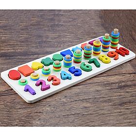 Bảng lắp ghép bằng gỗ cho bé tập đếm số và nhận biết hình học cơ bản
